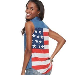 Rock & Republic American Flag Chambray Top XS